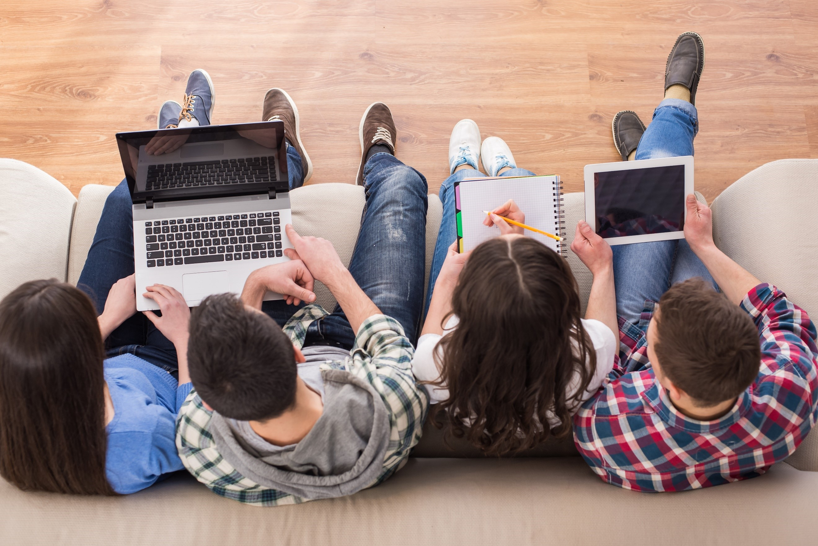 students with tablet and computer